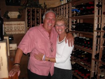 HILTON HEAD ISLAND, SC - Mom and Dad in the Wine Cellar at Aqua.