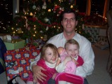 Jeff with Sarah and Amanda - Christmas Eve 2005 - Falmouth, MA