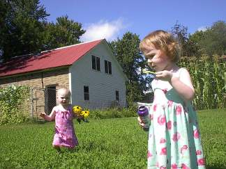 MIDDLEBURY, VT - Bubbles and Black Eyed Susan's for Grampa on his birthday. August 2004
