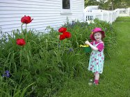 MIDDLEBURY, VT - Watering the flowers. June 2004